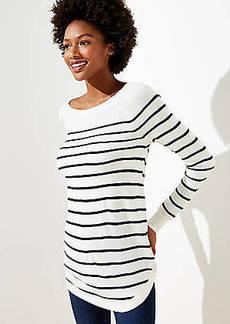 LOFT Striped Luxe Knit Shirttail Tunic Sweater