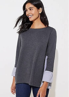 LOFT Striped Mixed Media Bell Cuff Sweatshirt