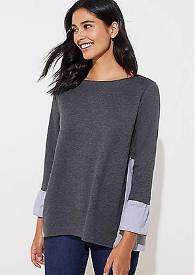 LOFT Striped Mixed Media Bell Cuff Sweatshirt