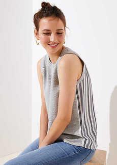 LOFT Striped Mixed Media Sleeveless Sweater