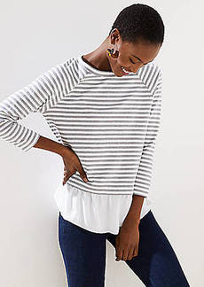 LOFT Striped Mixed Media Sweatshirt