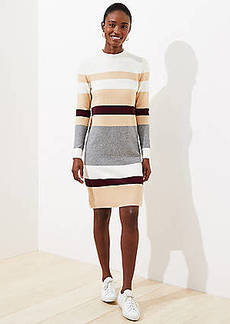 LOFT Striped Mock Neck Sweater Dress