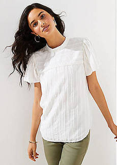 LOFT Striped Mock Neck Top