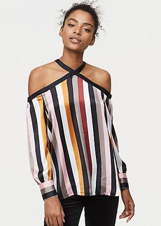 Striped Off The Shoulder Halter Blouse