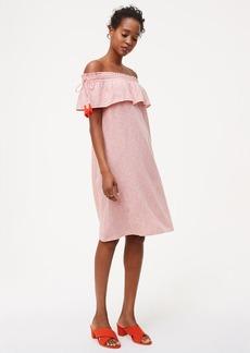 LOFT Striped Off The Shoulder Tassel Dress