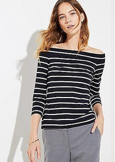 LOFT Striped Off The Shoulder Tee