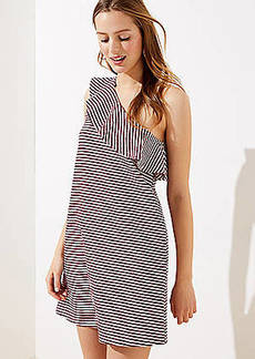 LOFT Striped One Shoulder Pocket Dress