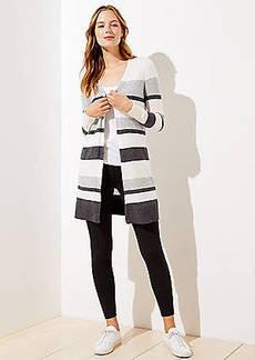 LOFT Striped Open Cardigan
