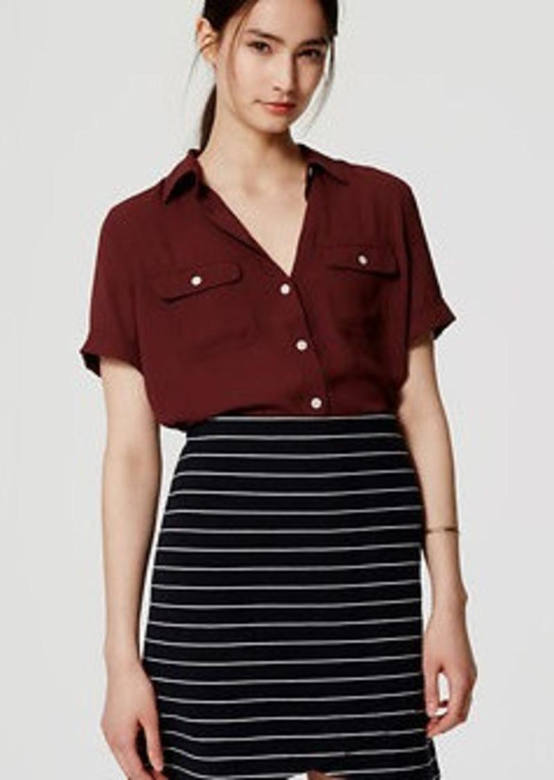 LOFT Striped Ottoman Wrap Skirt