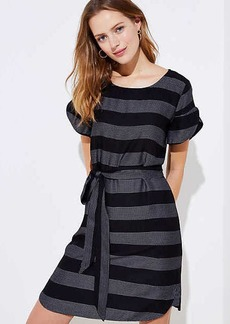 Striped Petal Sleeve Tie Waist Dress