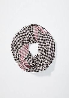 LOFT Striped Plaid Infinity Scarf