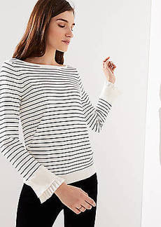 LOFT Striped Pleated Bell Cuff Sweater