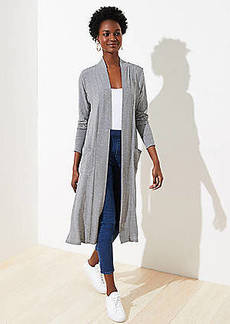 LOFT Striped Pocket Duster Sweater