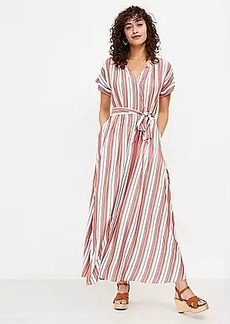 LOFT Striped Pocket Maxi Shirtdress