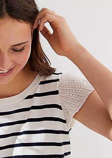 LOFT Striped Pointelle Flutter Sleeve Sweater