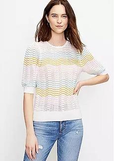 LOFT Striped Pointelle Puff Sleeve Sweater Tee