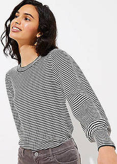 LOFT Striped Puff Sleeve Sweater