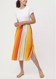 LOFT Striped Pull On Midi Skirt