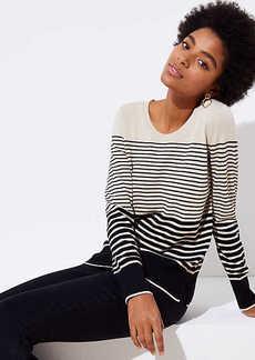 LOFT Striped Refined Scoop Neck Sweater