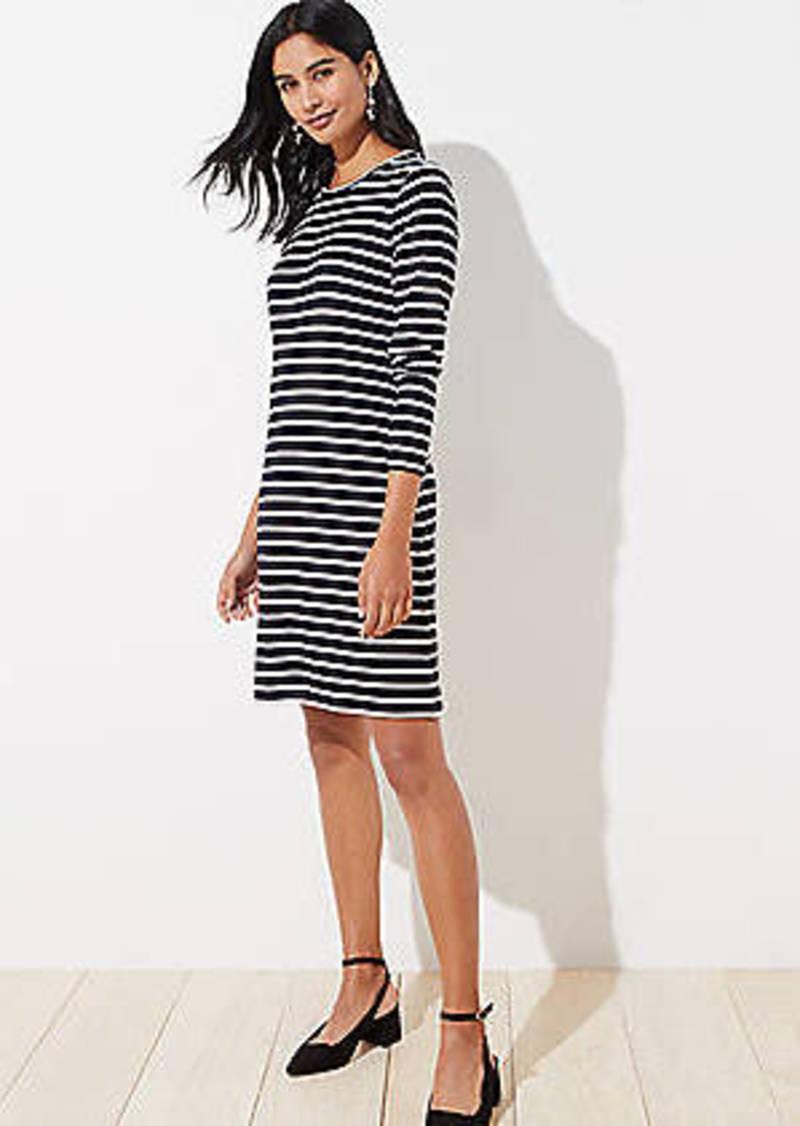 LOFT Striped Ribbed Long Sleeve Tee Dress