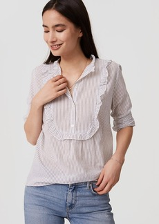 Striped Ruffle Bib Shirt