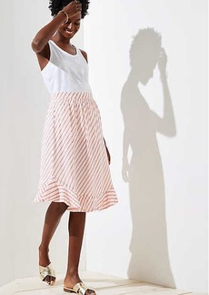 LOFT Striped Ruffle Hem Skirt