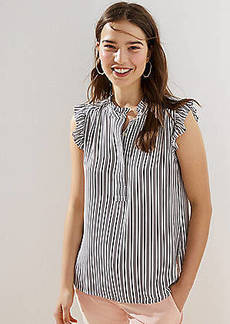LOFT Striped Ruffle Henley Shell