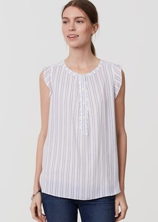 Striped Ruffle Henley Shell