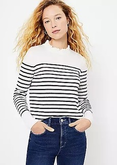 LOFT Striped Ruffle Neck Sweater