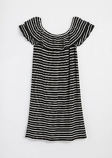 LOFT Striped Ruffle Off The Shoulder Dress