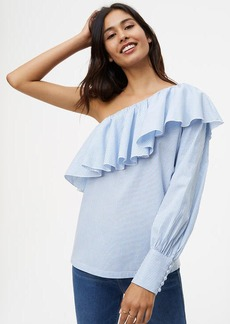 Striped Ruffle One Shoulder Shirt