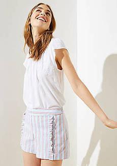 LOFT Striped Ruffle Shorts