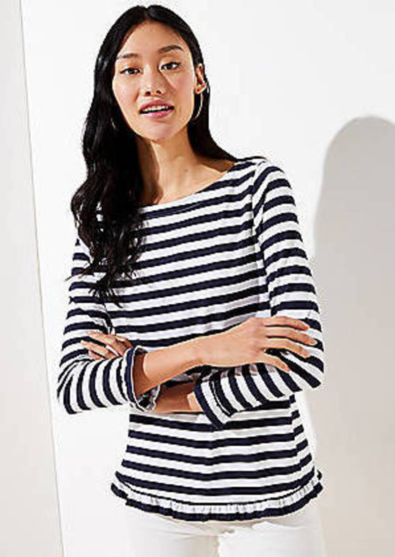 LOFT Striped Ruffle Sleeve Tee