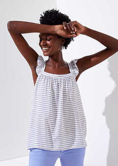 LOFT Striped Ruffle Tank