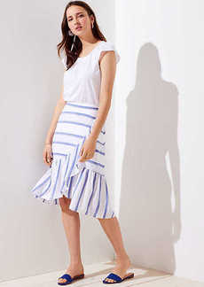 LOFT Striped Ruffle Wrap Skirt