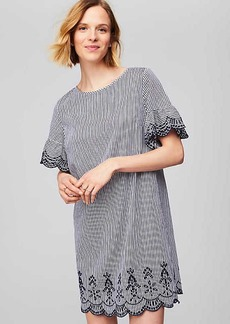 Striped Scalloped Eyelet Dress