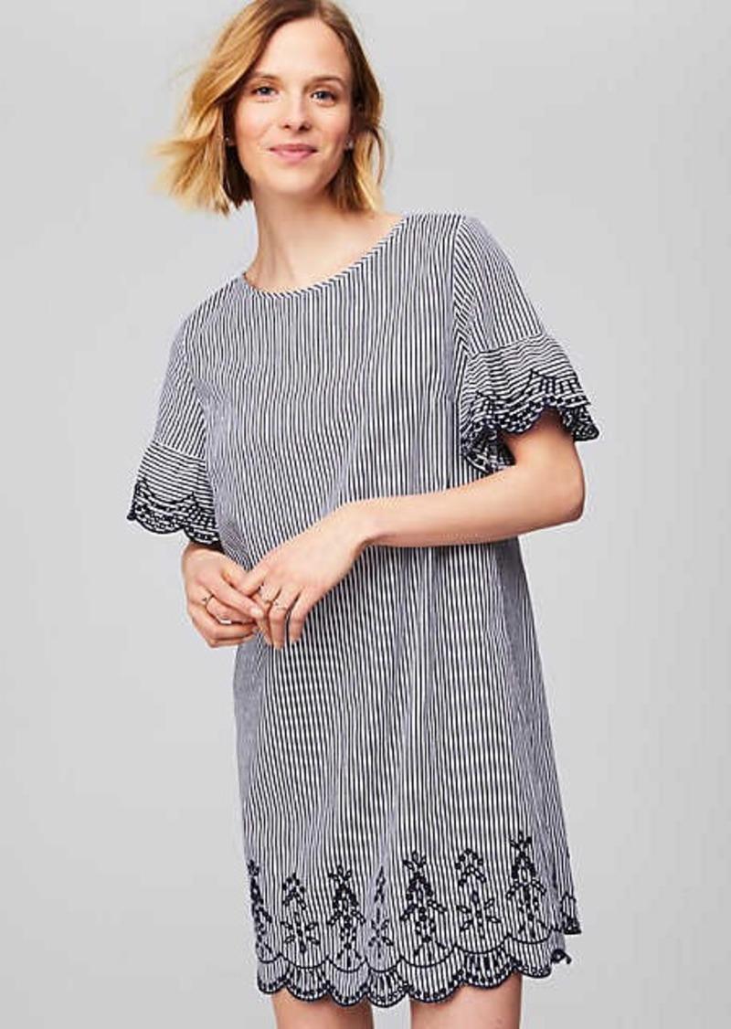 LOFT Striped Scalloped Eyelet Dress