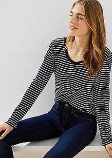 LOFT Striped Scoop Neck Tee