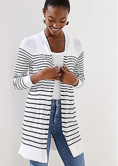 LOFT Striped Sheer Open Cardigan