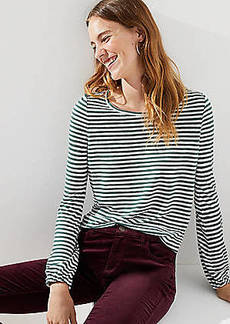 LOFT Striped Shirred Back Tee