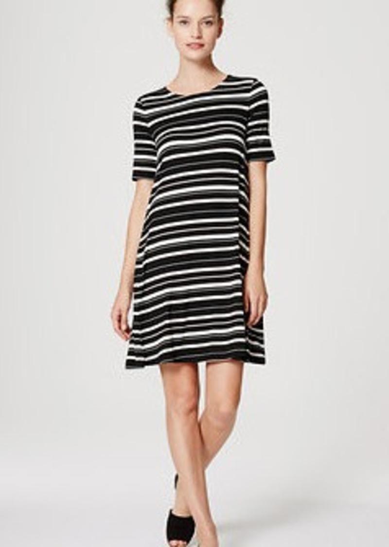 LOFT Striped Short Sleeve Swing Dress