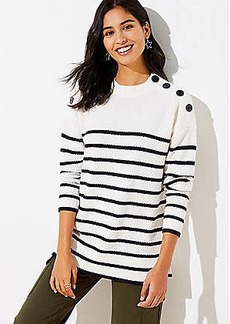 LOFT Striped Shoulder Button Tunic Sweater