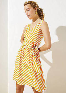 LOFT Striped Sleeveless Wrap Dress