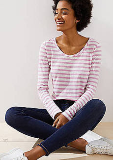 LOFT Stripe Textured Shirttail Tee