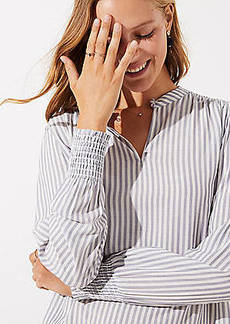 LOFT Striped Smocked Cuff Blouse