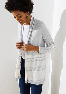 LOFT Striped Soft Open Cardigan