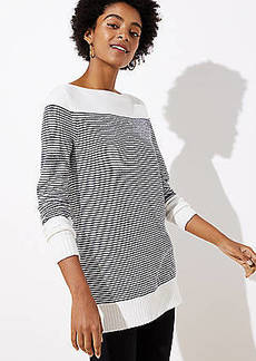 LOFT Striped Speckled Boatneck Tunic Sweater