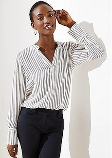 LOFT Striped Split Neck Blouse