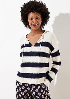 LOFT Striped Split Neck Sweater