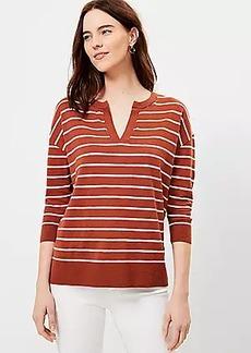 LOFT Striped Split Neck Tunic Sweater